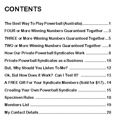 Winning Powerball Australia - Contents Page